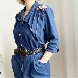 Vintage Lucille Faucher Midi Jeans Dress Size 8